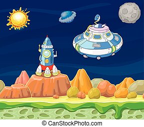 Cartoon fantastic landscape with spaceship vector illustration.