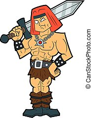 Cartoon fantasy barbarian with a sword - Illustration...