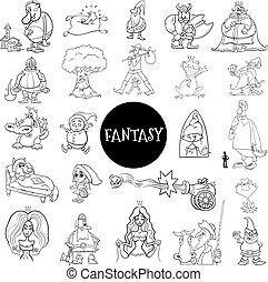 Black and White Cartoon Illustration of Fantasy or Fairy Tale Characters Large Set Coloring Book Page