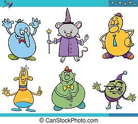 cartoon fantasy characters set - Cartoon Illustrations Set...