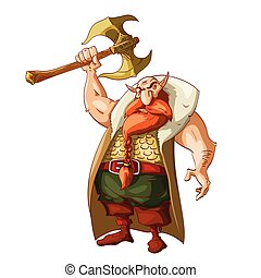 Cartoon fantasy dwarf warrior - Colorful vector illustration...