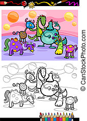 cartoon fantasy group coloring page - Coloring Book or Page...