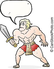 cartoon fantasy hero man with speech bubble