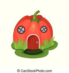 Cartoon fantasy house in shape of red pumpkin with round...
