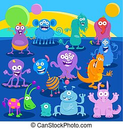 Cartoon Illustrations of Monsters or Aliens Characters Group in Fantasy World