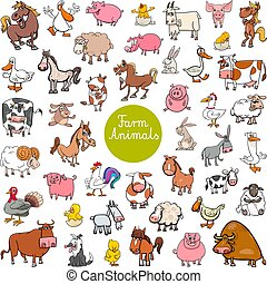 Cartoon Illustration of Funny Farm Animal Characters Huge Set