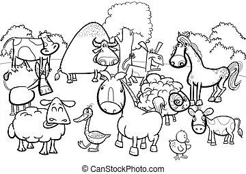 cartoon farm animal characters coloring book