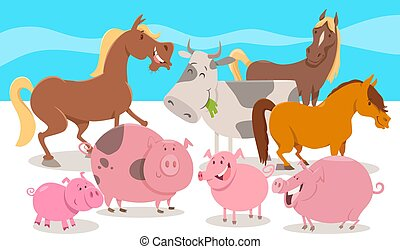 cartoon farm animal characters group