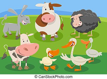 cartoon farm animal characters group in the countryside