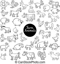 cartoon farm animal characters set color book