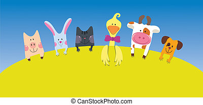Cartoon farm animals card