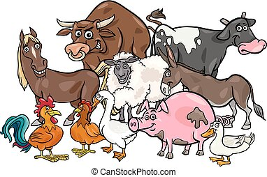 cartoon farm animals group - Cartoon Illustration of Comic...
