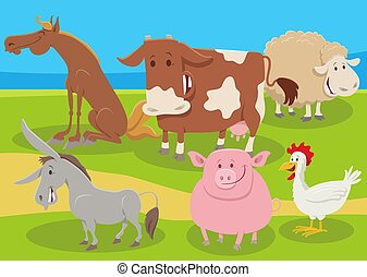 cartoon farm animals group in the countryside