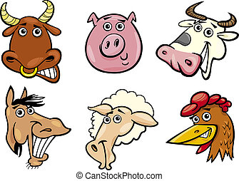 Cartoon farm animals heads set - Cartoon Illustration of...