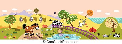 cartoon farm animals in the field