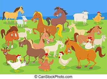 cartoon farm animals on the meadow