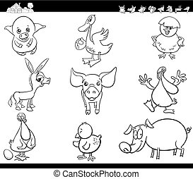 cartoon farm animals set coloring book