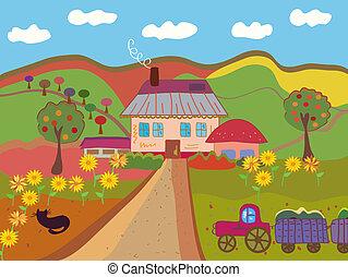Cartoon farm at the autumn