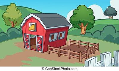 Cartoon farm background. Vector clip art illustration with...
