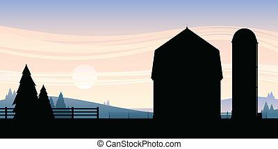 Cartoon silhouette of a barn and silo on a farm.