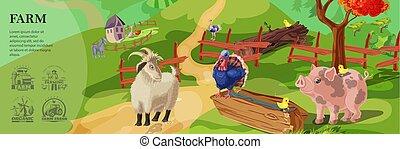 Cartoon Farm Colorful Template