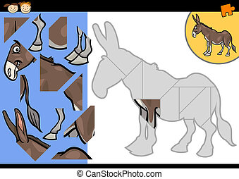 cartoon farm donkey puzzle game - Cartoon Illustration of...
