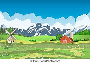 Cartoon farm green seeding field,