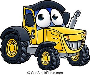 Cartoon Farm Tractor Character - Tractor farm vehicle...