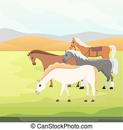 Cartoon farm wild isolated vector hoses. Collection of animal horse standing . Different silhouette
