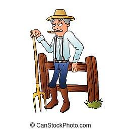 Cartoon Farmer Character with pitchfork