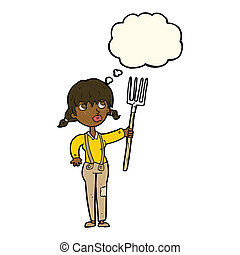 cartoon farmer girl with thought bubble
