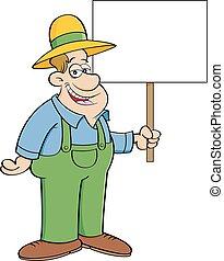Cartoon farmer holding a sign.