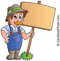 Cartoon farmer holding wooden board - vector illustration.