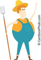 Cartoon farmer. Illustration of a cheerful farmer with a pitchfork on a white background.