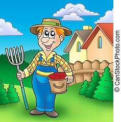 Cartoon farmer on garden - color illustration.