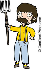 cartoon farmer with pitchfork