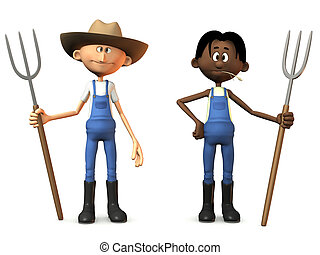 Cartoon farmers holding pitchforks. - Two cartoon farmers...