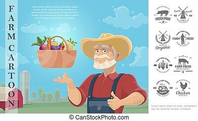 Cartoon Farming Colorful Concept