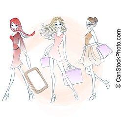 cartoon fashion woman shopping