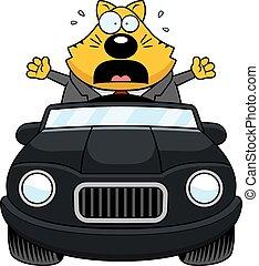 Cartoon Fat Cat Driving Panic
