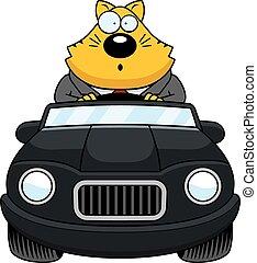 Cartoon Fat Cat Driving Surprised