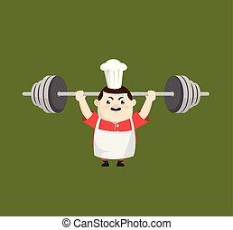 Cartoon Fat Funny Cook - Doing Weight Lifting