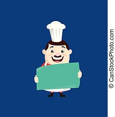 Cartoon Fat Funny Cook - Holding a Paper Banner