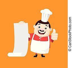 Cartoon Fat Funny Cook - Holding a Paper Scroll and Showing Thumbs Up