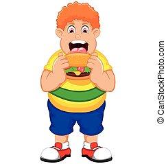 Cartoon Fat Man eating Burger