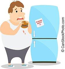 Cartoon Fat Man eating Burger near the refrigerator. Vector ...
