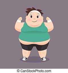 Fat Man - Cartoon Fat Man In A Sports Uniform, Vector...