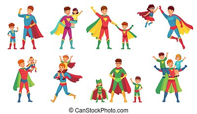 Cartoon father superhero. Happy fathers day, super parent with kids and hero dad vector illustration set