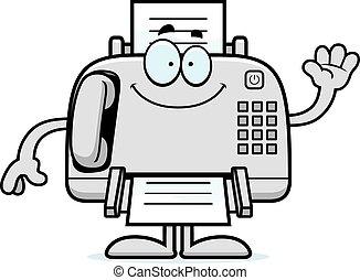 Cartoon Fax Machine Waving - A cartoon illustration of a fax...