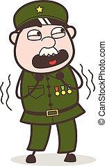 Cartoon Fearful Sergeant Vector Illustration